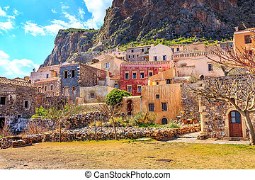 Monemvasia houses in Peloponnese, Greece