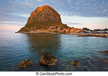 Monemvasia in Greece. - Monemvasia island in Peloponnese, ...