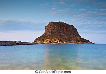 Monemvasia in Greece. - Monemvasia island off the coast of ...