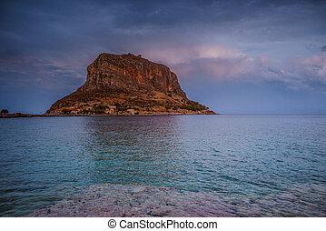 Monemvasia island at evening, Greece