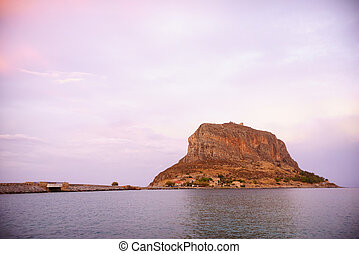 Monemvasia island at evening, Greece