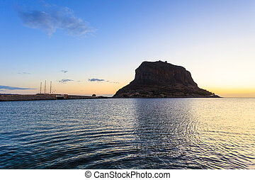Monemvasia island at morning, Greece