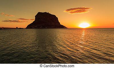 Monemvasia island at morning, Greece