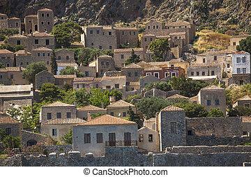 Monemvasia island traditional view of stone houses. Greece.