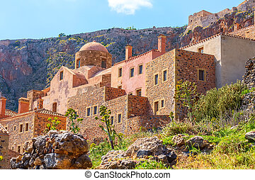 Monemvasia old houses view in Peloponnese, Greece - ...