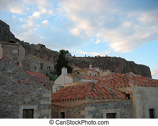 Monemvasia town at Peloponnese Greece