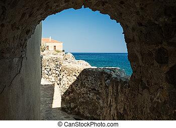 Monemvasia town in Laconia, Greece - Monemvasia town and a ...