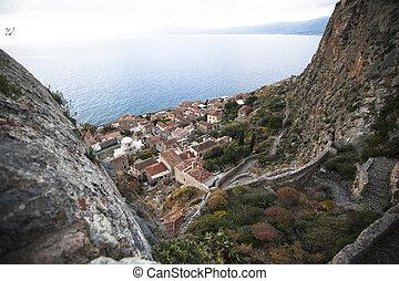 Monemvasia - view of the lower town, Greece.