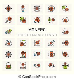 MONERO Coin Crypto Currency icons set