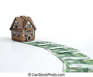 monetário, caminho, para, casa