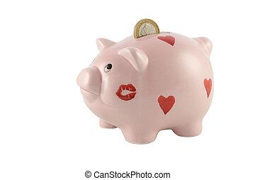 moneta, euro, banca piggy, uno