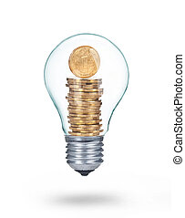 moneta, isolato, uno, bulbo, luce