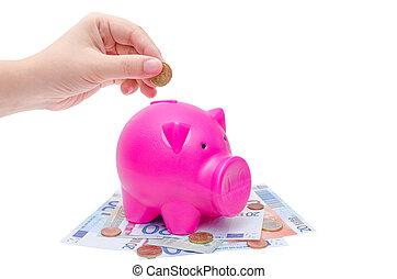 moneta, mettere, banca piggy, mano