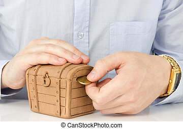 moneta, mettere, money-box, mano