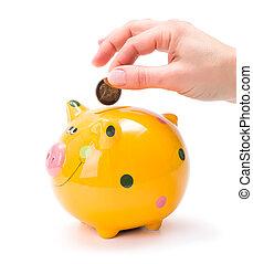 moneta, mettere, piggy-banca, mano