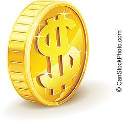 moneta oro, con, segno dollaro