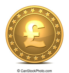 moneta oro, con, sterlina, segno.