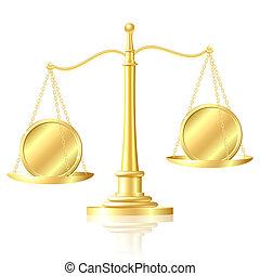 moneta, outweighs, un altro, moneta, su, scale.