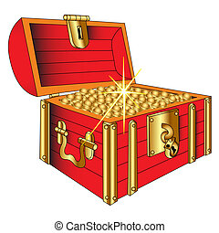 moneta, scrigno, oro, lucente