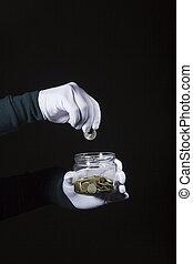 moneta, tiri, mano, vaso