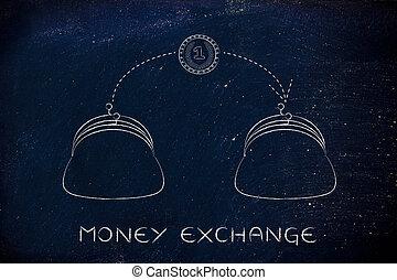 moneta, volare, da, uno, borsellino, a, un altro, scambio soldi