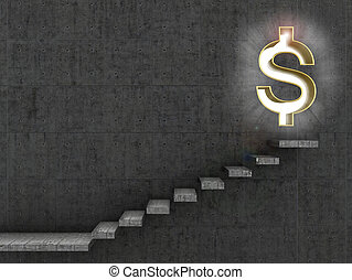 Monetary concept. Staircase that leads to the doorway in the form of a dollar sign.3d illustration