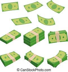 Monetary denomination, different stacks of money. Dollars isolated on white. Vector illustrations set