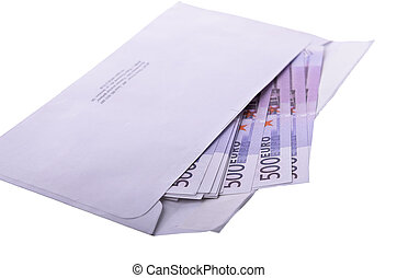 Monetary denominations in an envelope on a white background