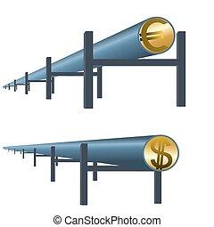 Monetary oil pipe - The pipeline highway money. Pipeline to...