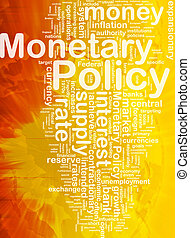 Background concept wordcloud illustration of monetary policy international
