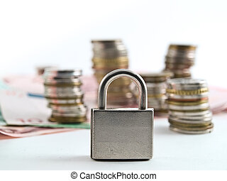 Monetary policy - Conceptual photo of a lock infront of the...
