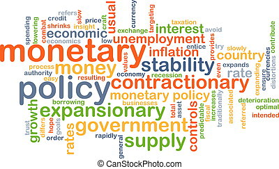 Monetary policy wordcloud concept illustration