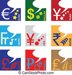 Monetary symbols of major world currencies. Vector...