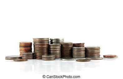 monete, accatastare