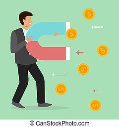 monete, affari, illustration., soldi, magnete, concetto, attracts, finance., prese, soldi, uomo affari, attrarre, uomo, magnetico, grande, vettore, potere
