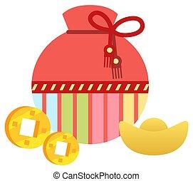 monete, biscotti, vettore, fortuna, dorato, borsa