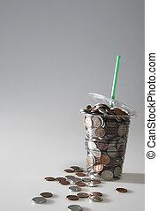 monete, disponibile, versamento, tazza