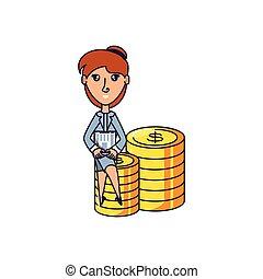 monete, donna, mucchio, affari, seduta