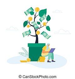 monete, freelancer, mucchio, strategia, appartamento, vettore, albero, appendere, remoto, branches., cartone animato, enorme, donna d'affari, vaso, illustrazione, banconote, lavoro, dorato, soldi, seduta, commercio, investimento, dollaro