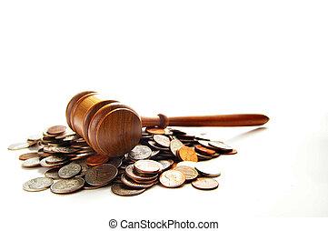 monete, giudici, sopra, mucchio, martelletto, bianco, legge