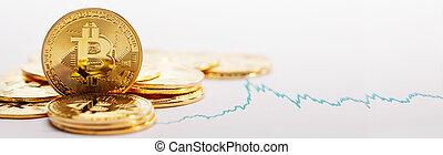 monete, grafico, bitcoin, segno