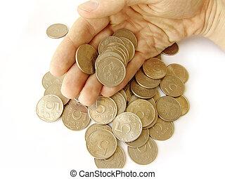 monete, mano