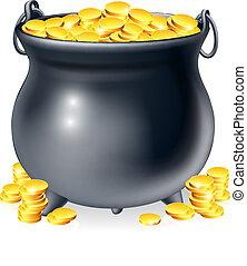 monete, pieno, calderone, oro