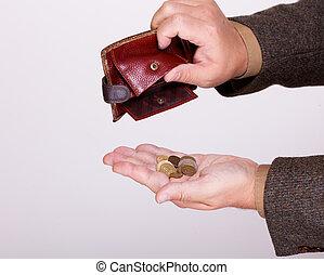 monete, portafoglio, ha rotto, polacco, uomo affari, vuoto