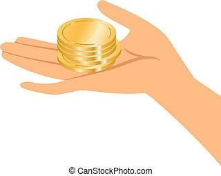 monete, presa a terra, oro, mani