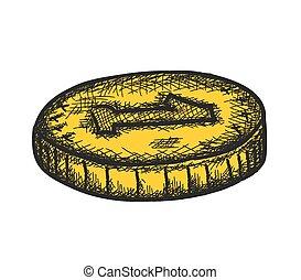 monete, scarabocchiare, vettore, dorato