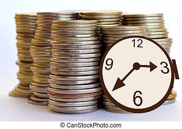 monete, soldi, .time, orologio