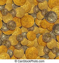 monete, vecchio, oro