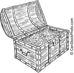 monete, vecchio, oro, dentro, tesoro, pirata, torace, vettore, cartone animato, aperto, disegno