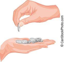 monete., vettore, mani